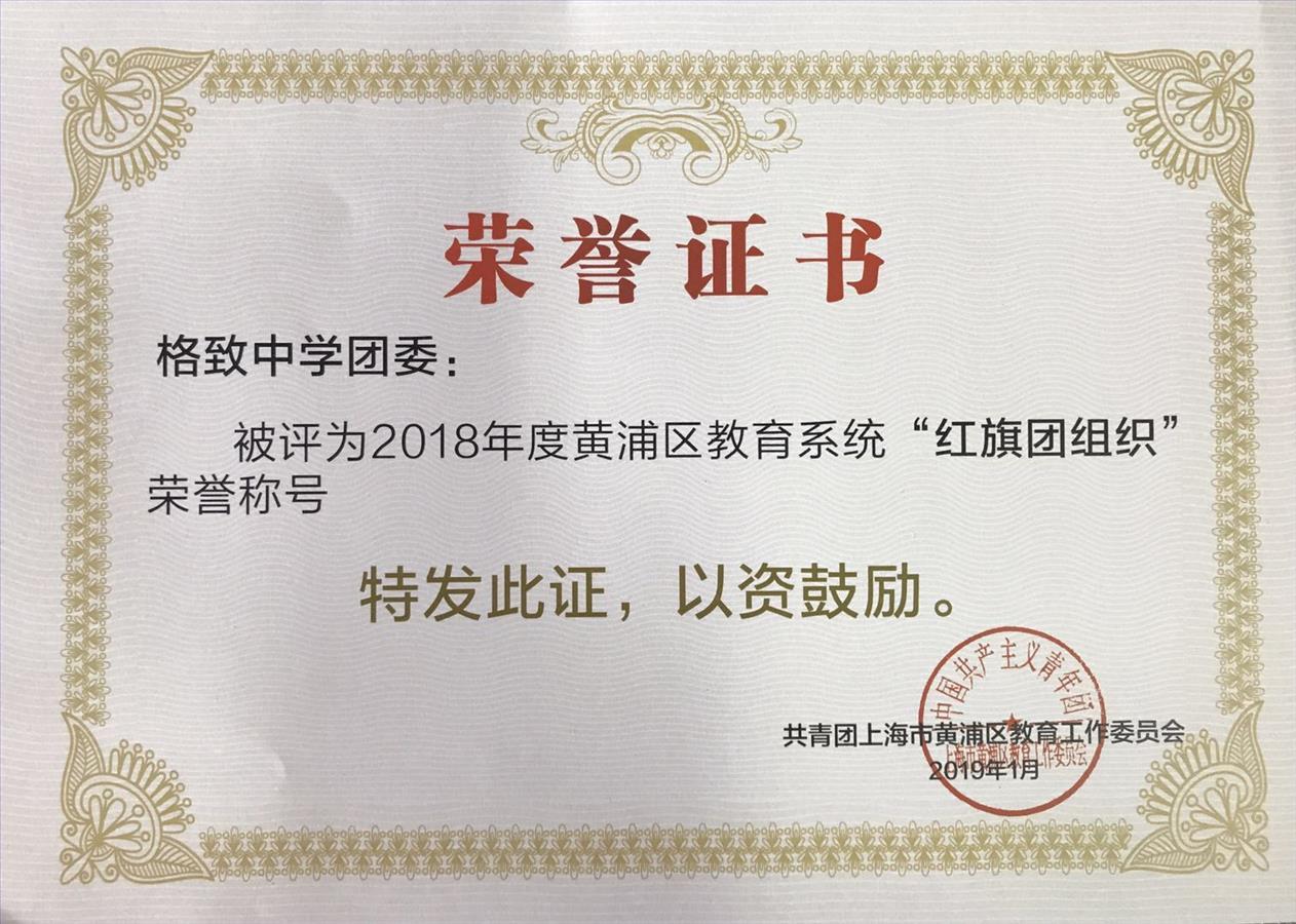 """喜报:我校团委荣获""""2018年度黄浦区教育系统红旗团组织"""""""